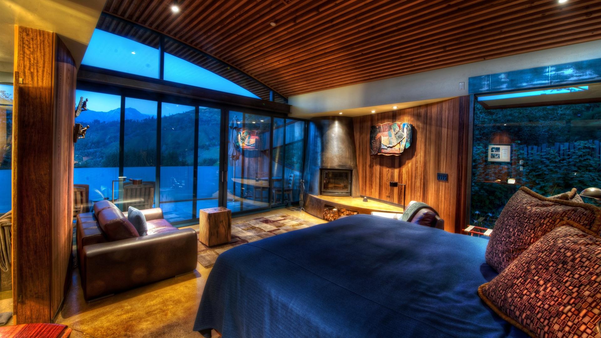 홈 디자인, 침실, 침대, 소파, 나무, 벽, 창문, 조명 배경 화면 ...