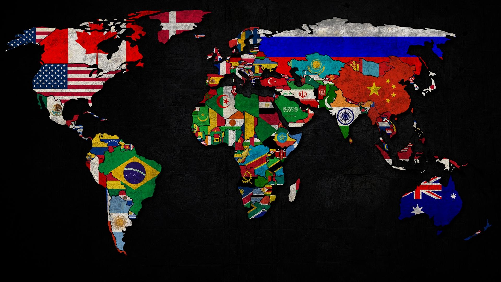 World map with flag logo Wallpaper 1920x1080 Full HD resolution wallpaper d