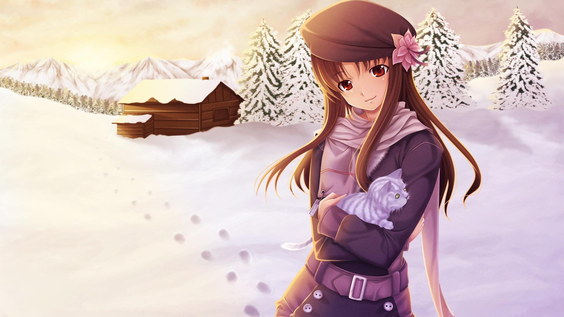 Winter Anime Girl Wallpaper: Anime Mädchen Im Schnee Winter 1920x1080 Full HD 2K