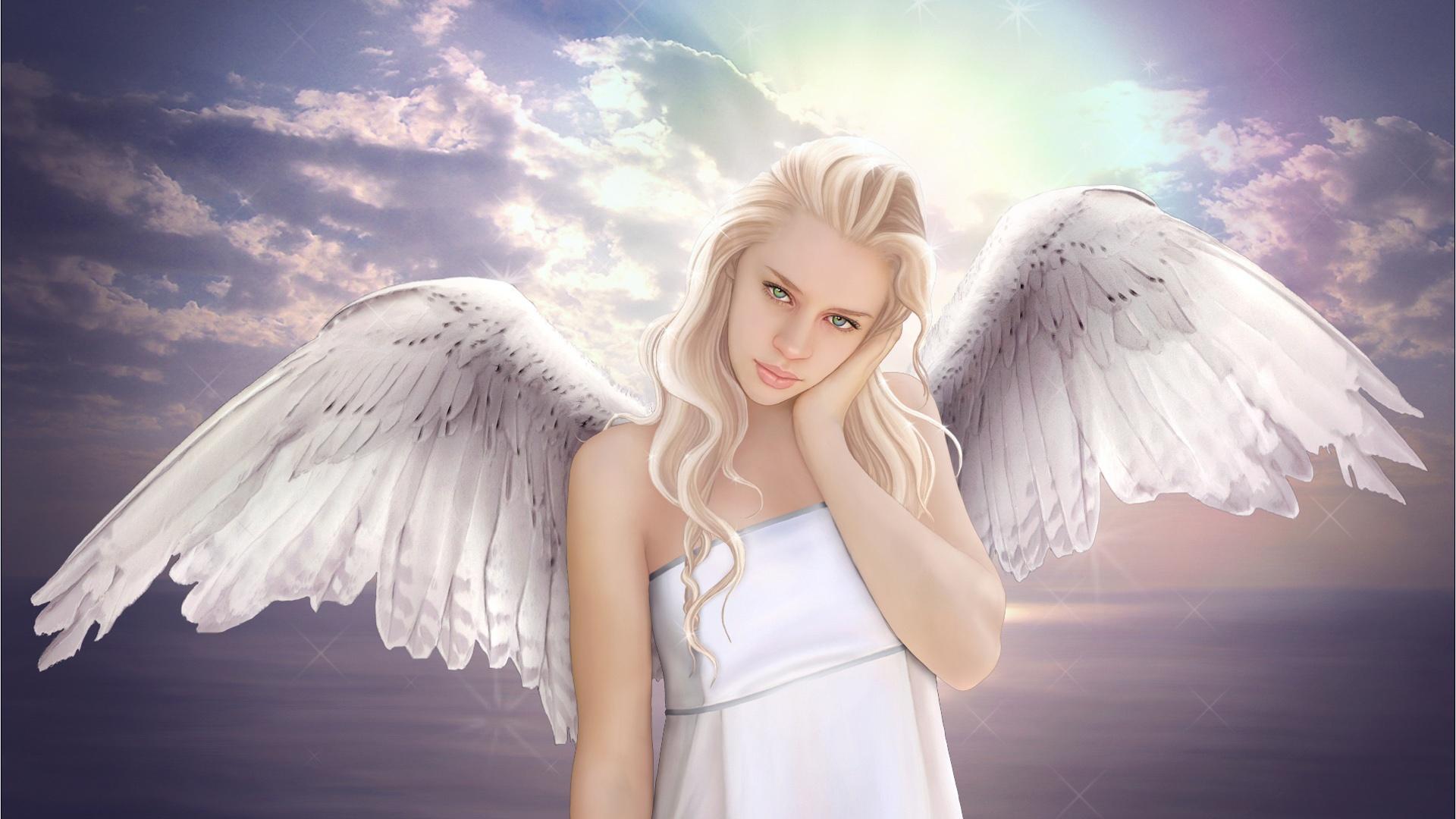 Wallpaper fantasy angel girl wings sky white 1920x1080 - Angel girl wallpaper ...