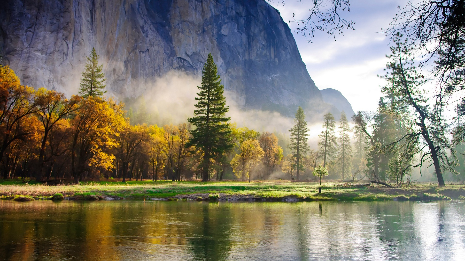 природа скалы горы деревья озеро на телефон