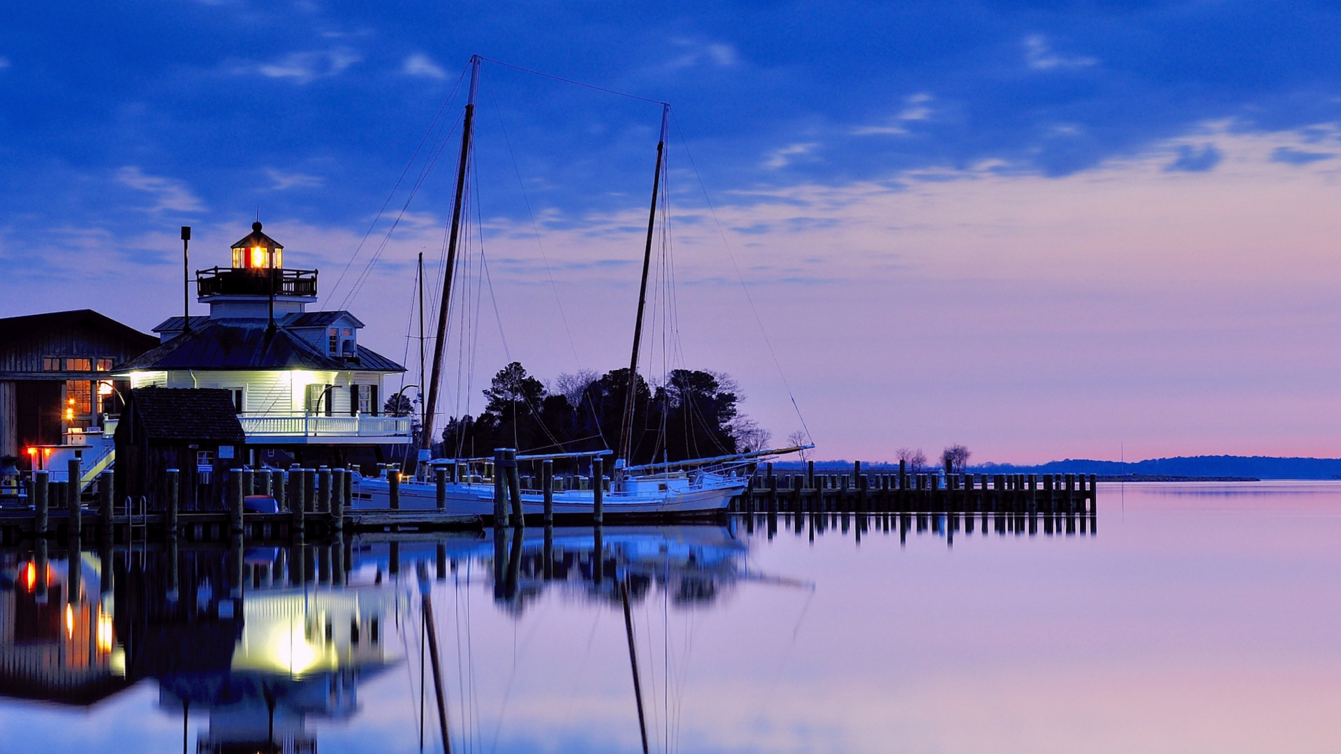 Wallpaper Usa Maryland Lighthouse Bay Night Blue Sky Water Reflection 19x10 Hd Picture Image