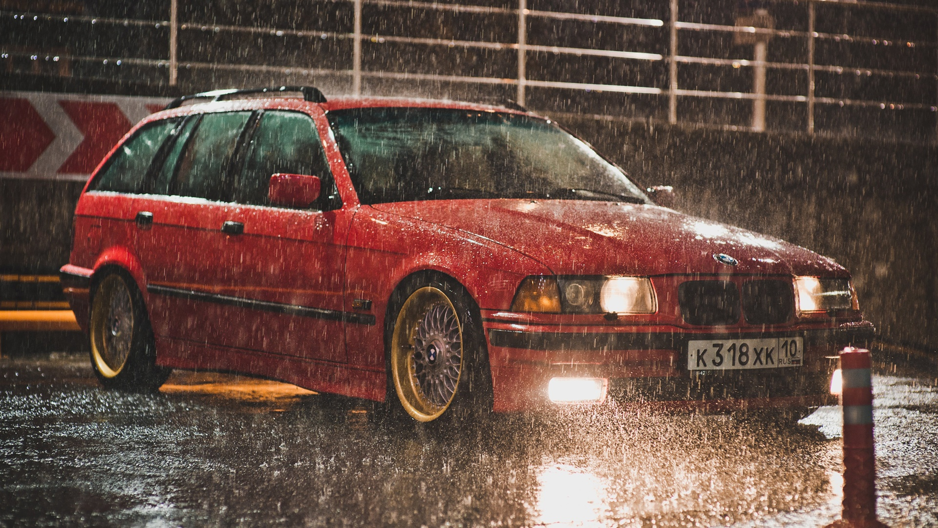 Wallpaper Bmw E36 Touring Red Color Raining Night 2560x1600 Hd Picture Image