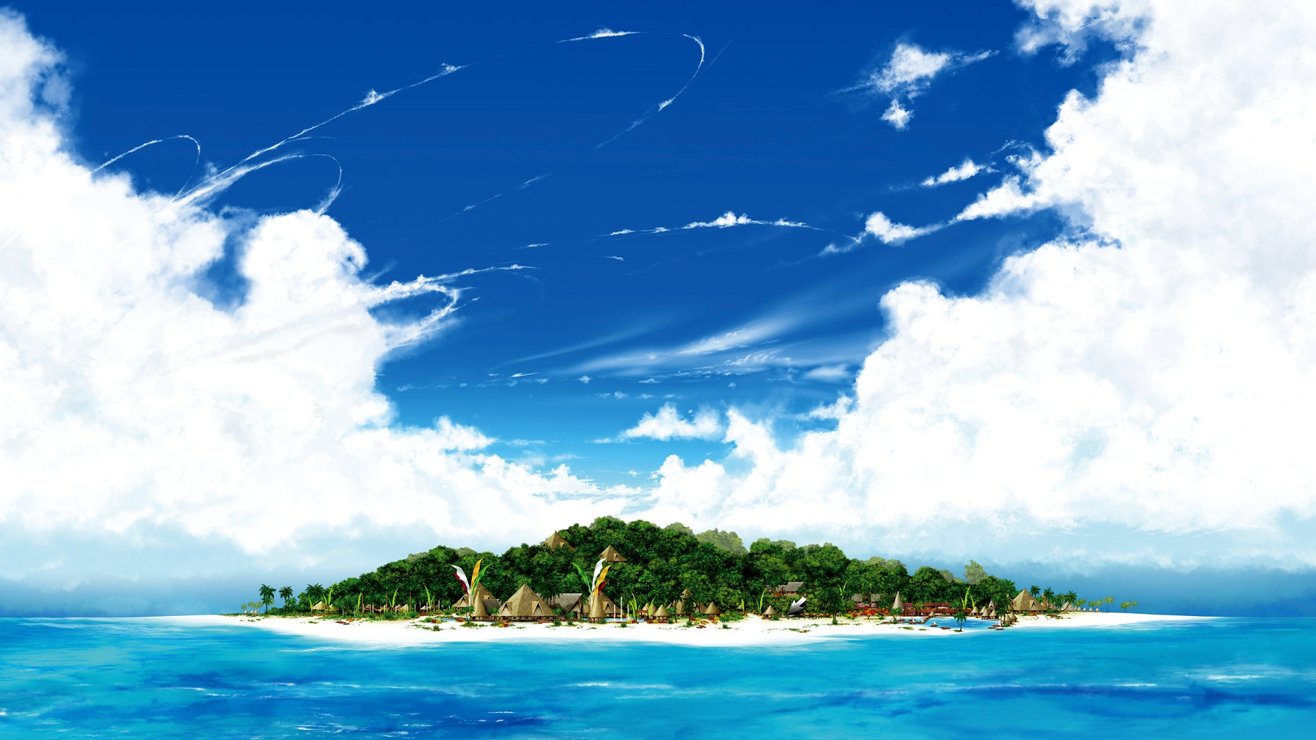 海の島、ビーチ、青い空、白い雲 壁紙 - 1920x1080 ...