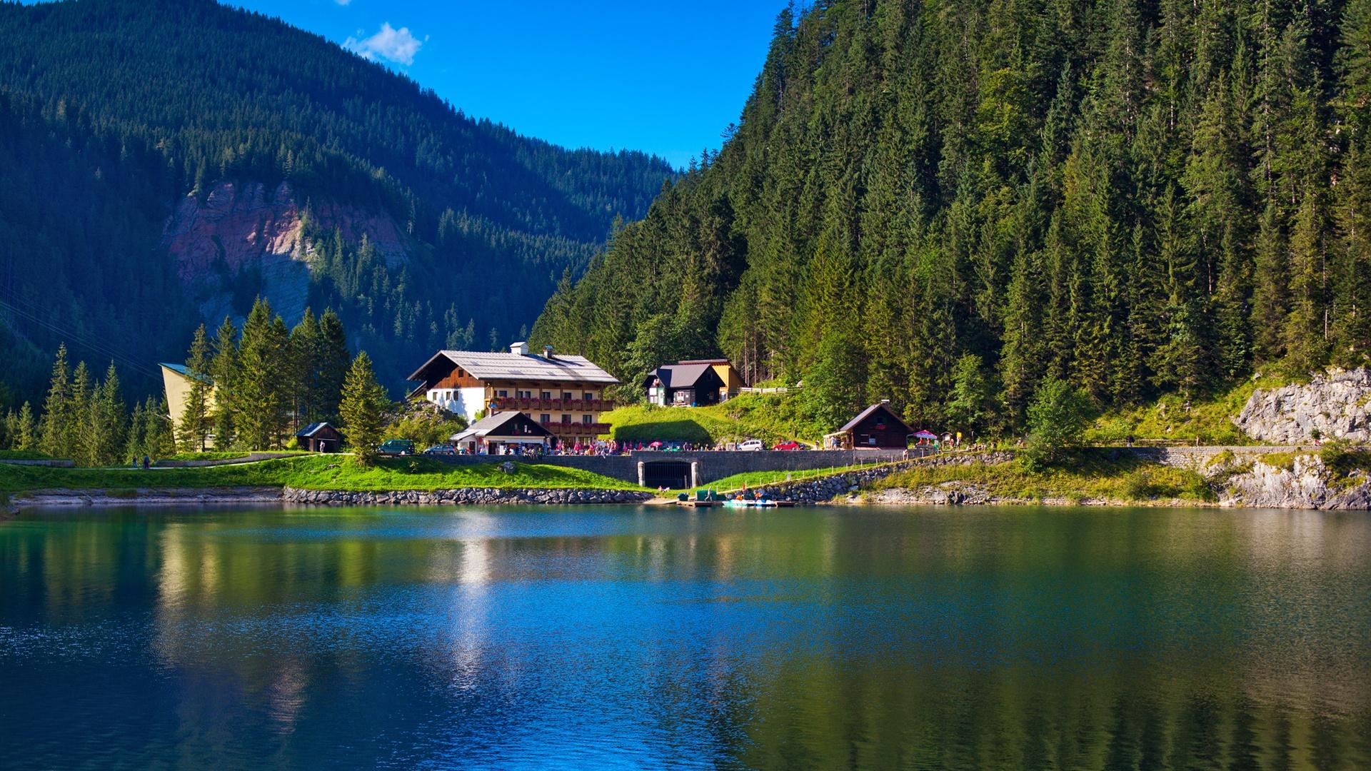 Haus am see wallpaper  Alpen, Berge, Bäume, See, Haus, Natur Grün Hintergrundbilder ...