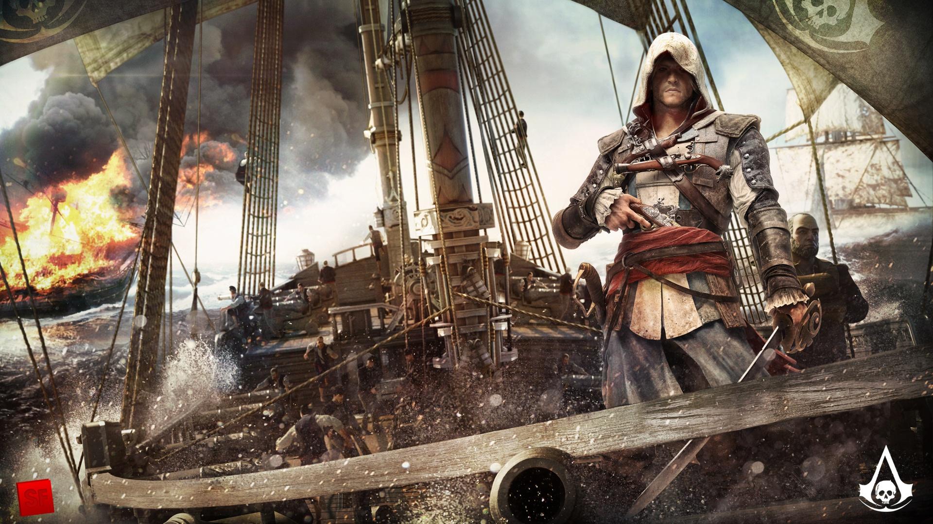 Wallpaper Assassin S Creed 4 Black Flag Ship Ocean 1920x1080