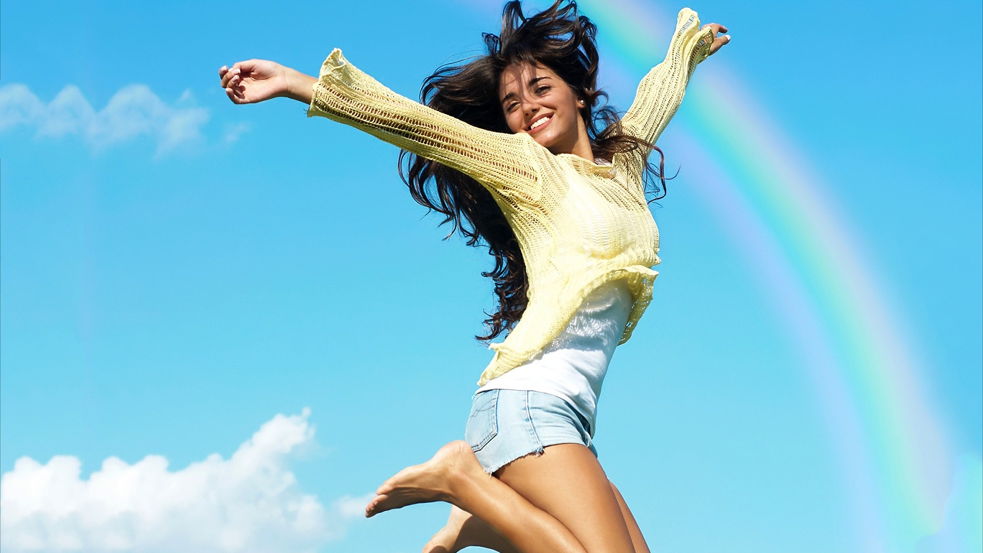 Wallpaper Summer Girl Beautiful Jumping 1920x1200 Hd Picture