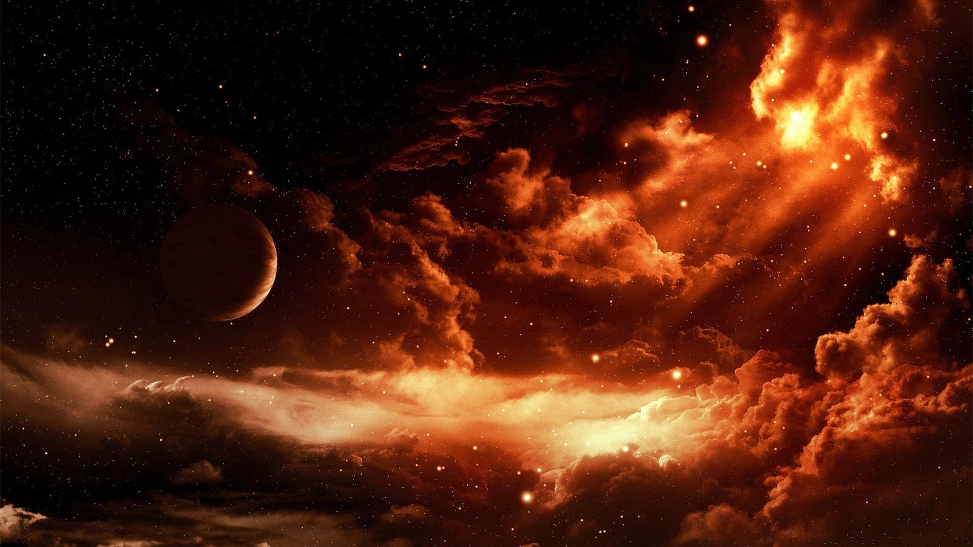 Papéis de Parede Art fotos, espaço vermelho, estrelas ...