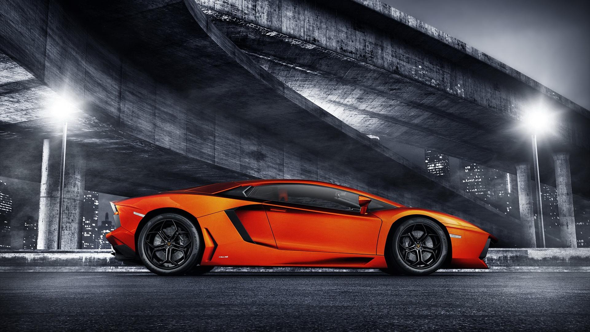 Lamborghini Orange Supercar Bridge Night Lights