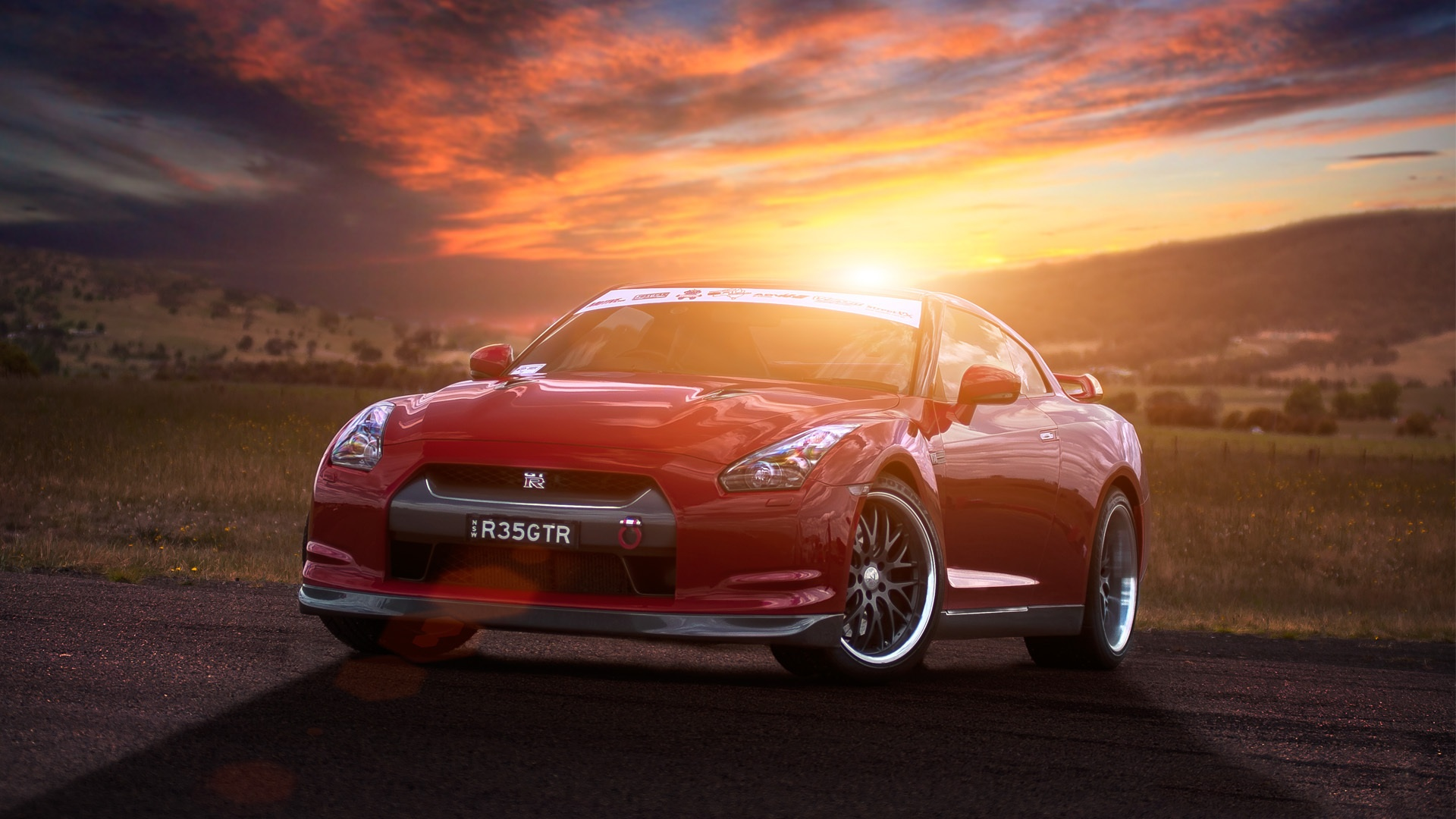 Wallpaper Nissan GT R R35 Red Supercar At Sunset 1920x1080 Full HD