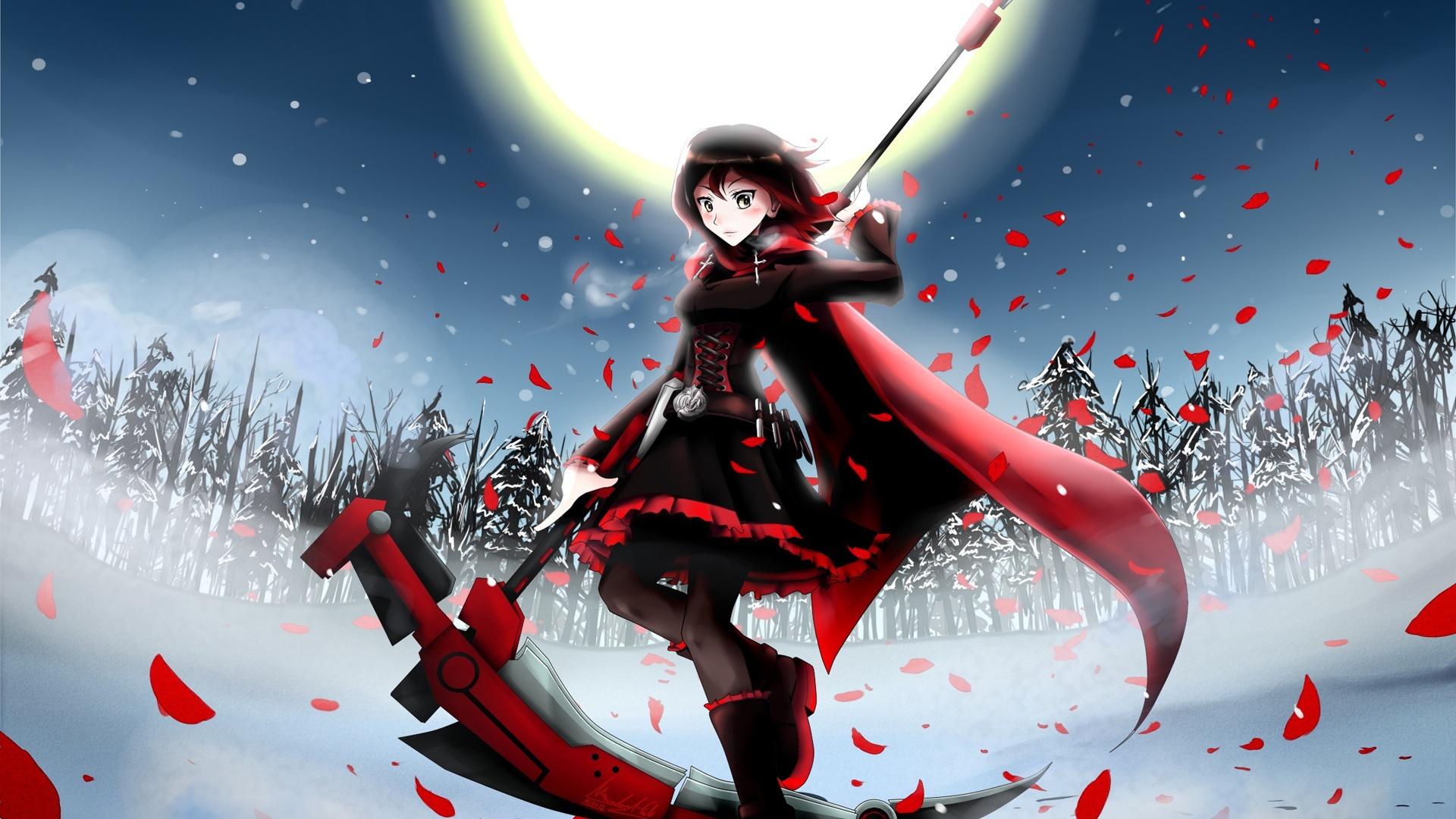 Anime girl en la noche de invierno la luna los campos - Anime girl full hd ...