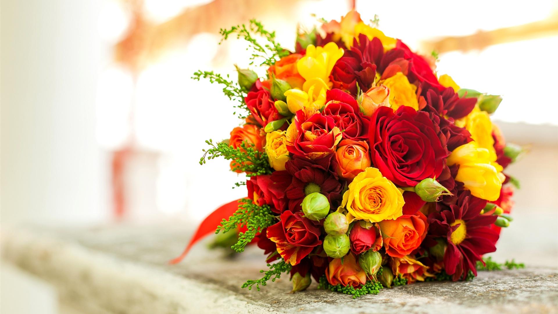 Fonds D Ecran Bouquet De Fleurs Jaune Rose Rouge 2560x1600 Hd Image