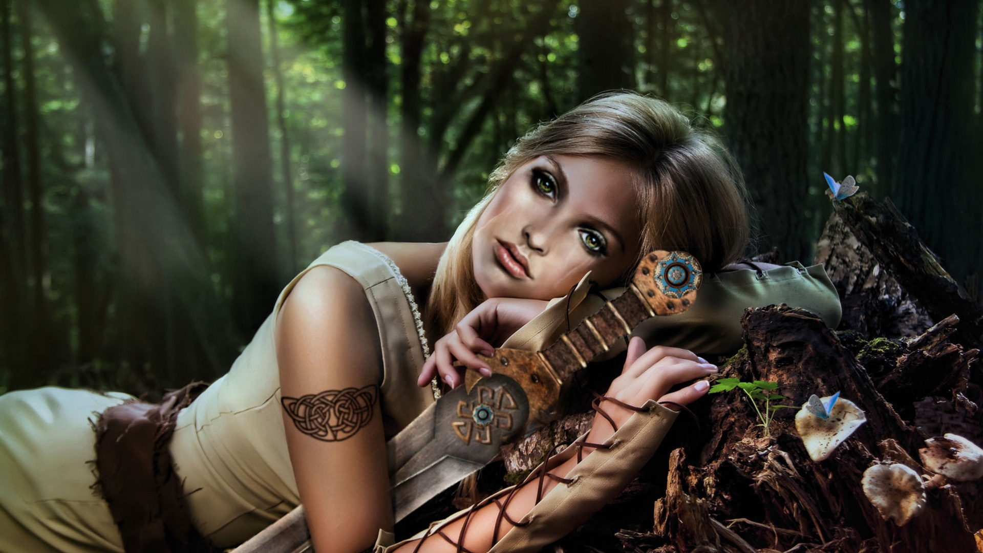Wallpaper fantasy girl green eyes arms sword forest - Girl with sword wallpaper ...
