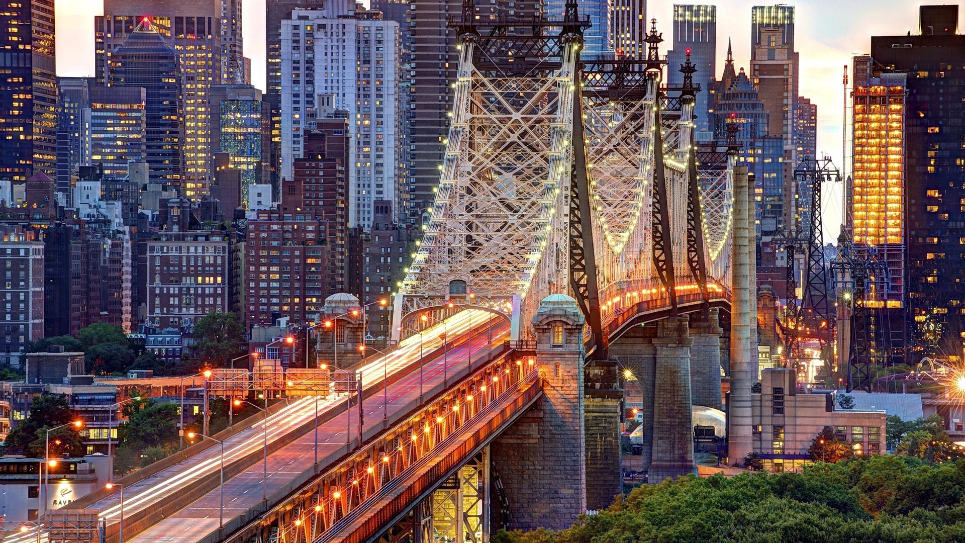 New York City Usa Manhattan Queensboro Bridge Gebaude Licht