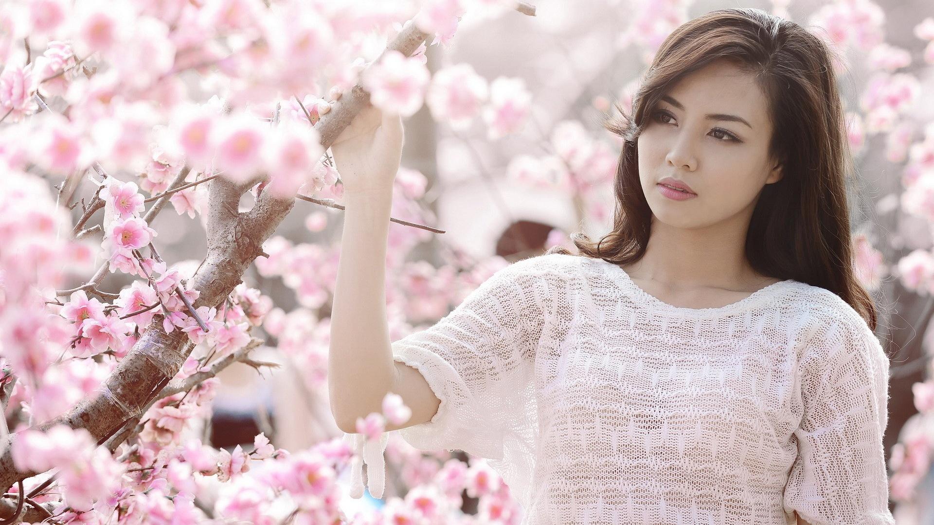 Pink Cherry Blumen, Asiatische Mdchen Weie Kleider -4864