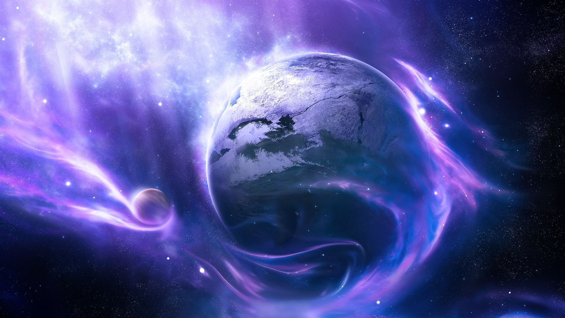 Fonds d'écran Planète, l'espace, les étoiles, le vent, bleu