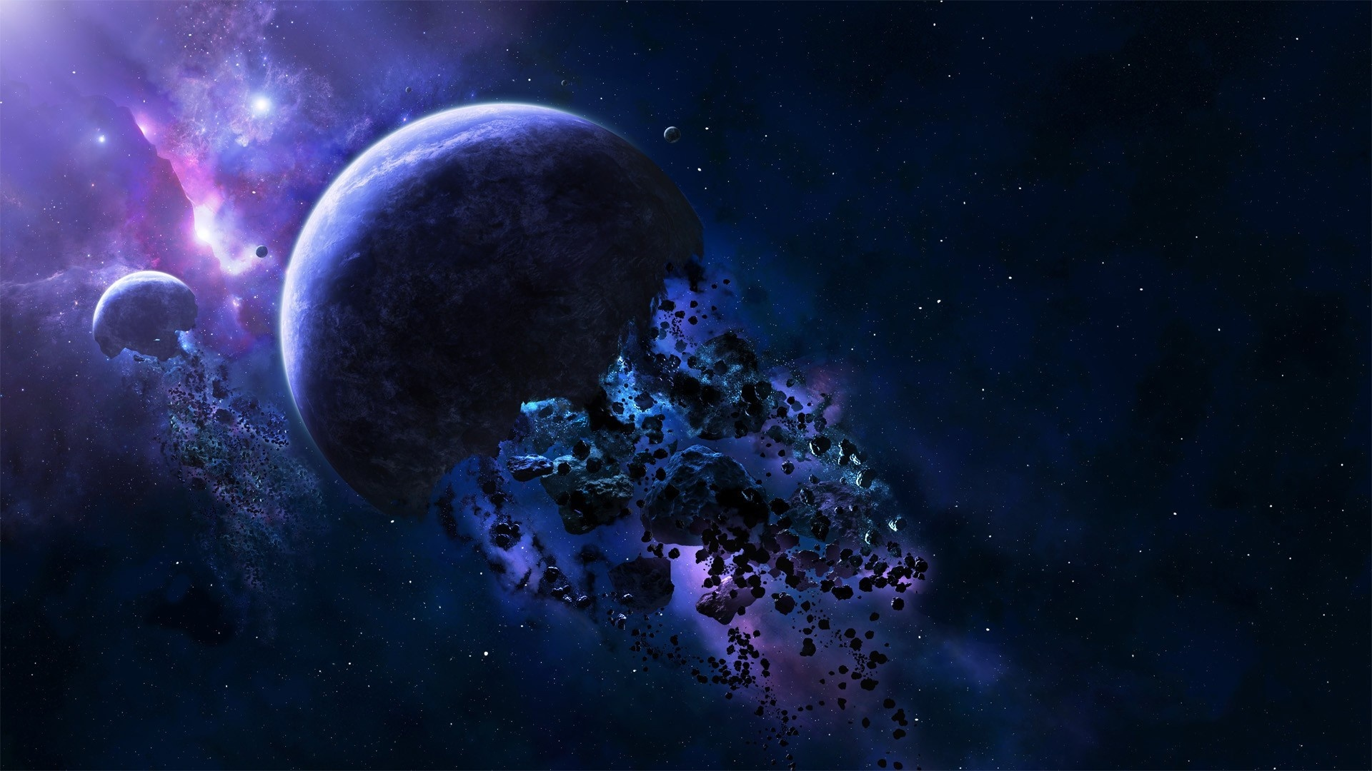 Wallpaper Planet Debris Asteroids Blue Space 1920x1080 Full Hd 2k