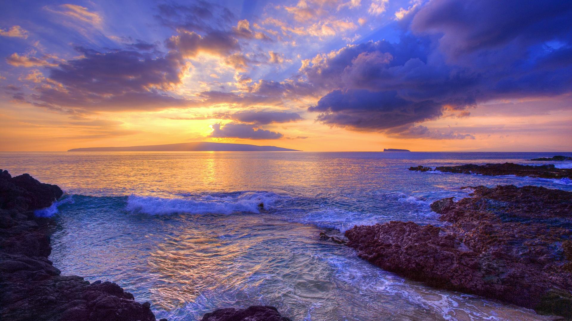 Wallpaper Sunset At Secret Beach Maui Hawaii Usa 1920x1200 Hd