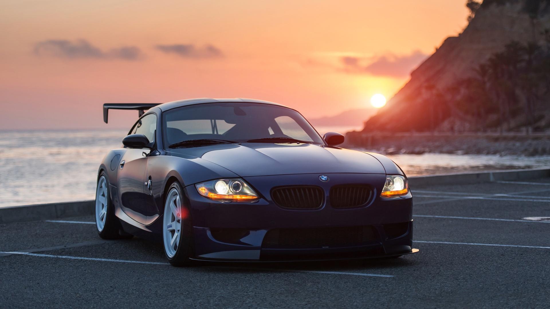 ダウンロード壁紙 1920x1080 日没BMW Z4黒い車 フルHD HDのデスクトップの背景