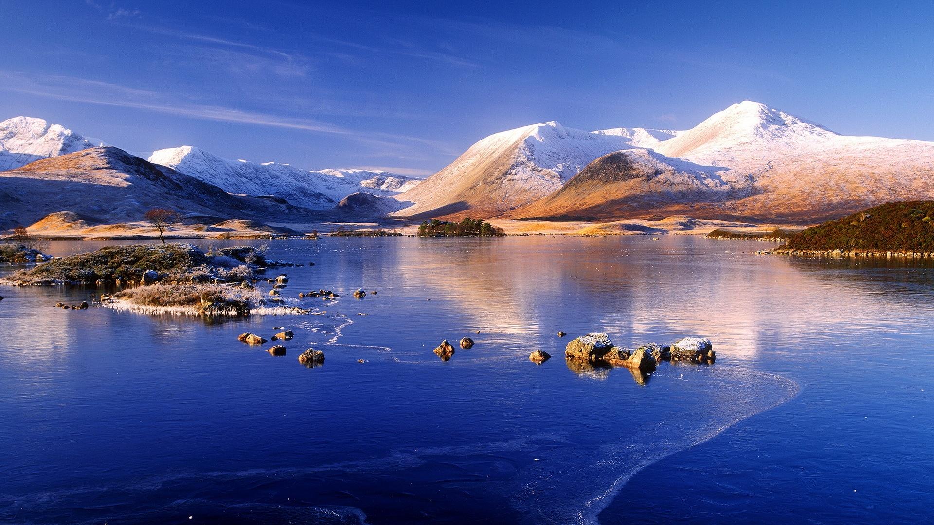 Wallpaper Winter Mountain Lake Snow Ice Blue Sky 1920x1080