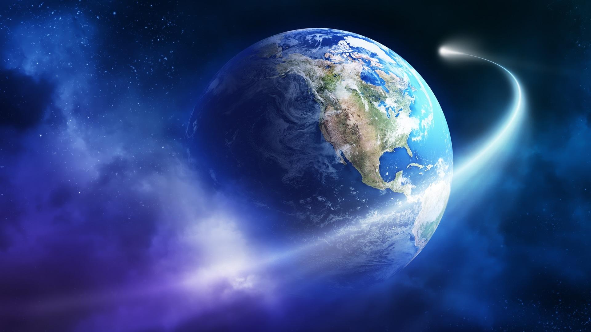 Beautiful Earth, planet, asteroid, comet Wallpaper | 1920x1080 Full HD ...