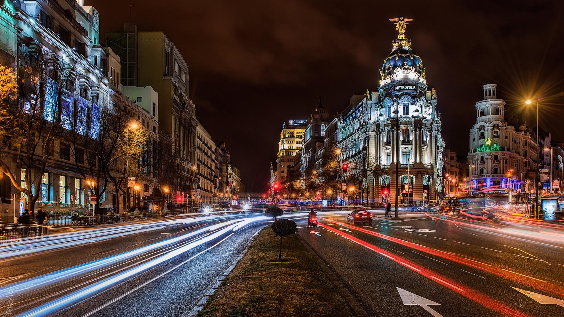 Hd wallpaper city - Madrid Spanien Stadt Nacht Geb 228 Ude Stra 223 En
