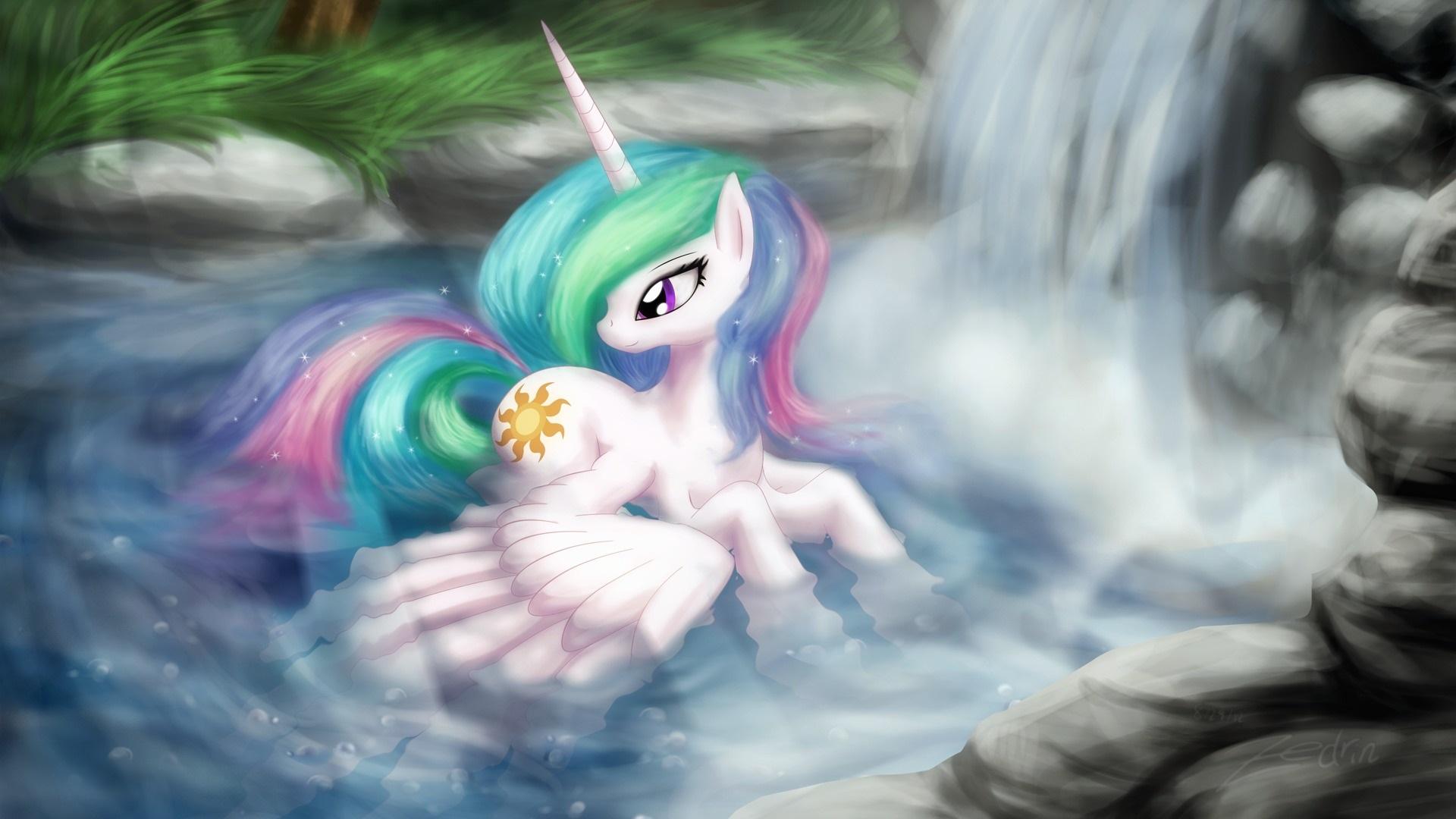 Wallpaper My Little Pony Cartoon Art Swimming Waterfall Wings