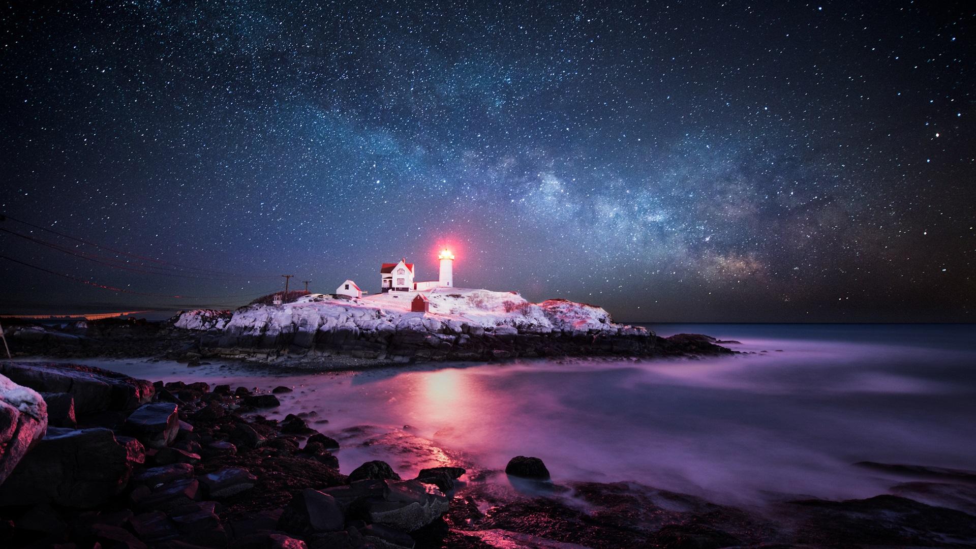 アメリカ、大西洋、島、灯台、光、空、星 壁紙 - 1920x1080   アメリカ、大西洋、島、