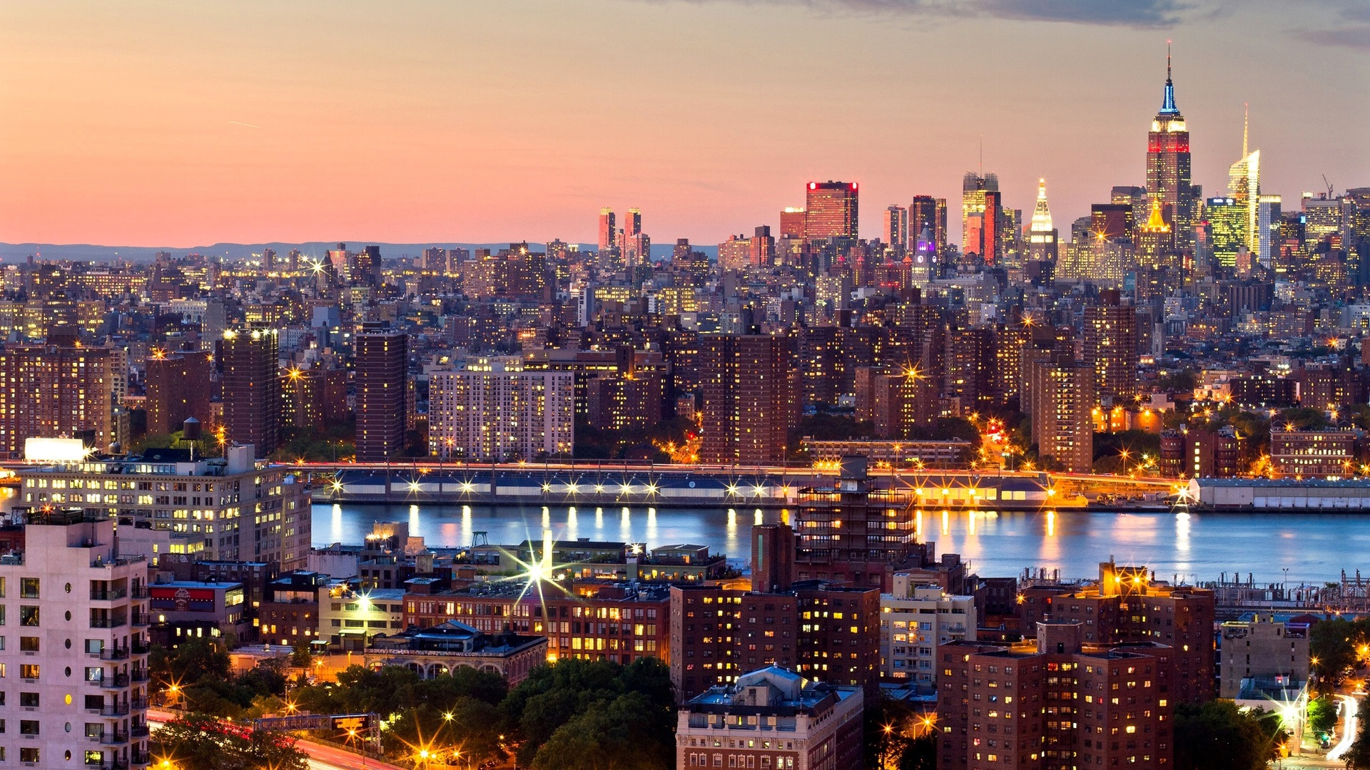 New York City Manhattan Abend Sonnenuntergang