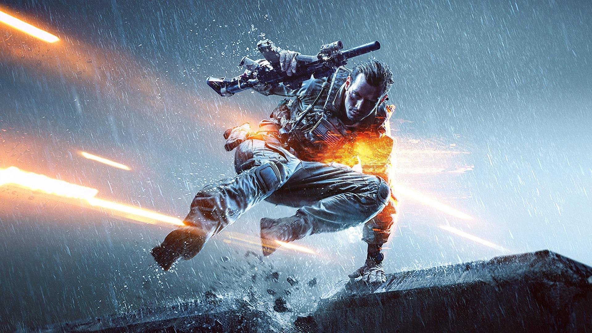 Wallpaper Battlefield 4 Rain Soldier Gun 1920x1080 Full Hd 2k