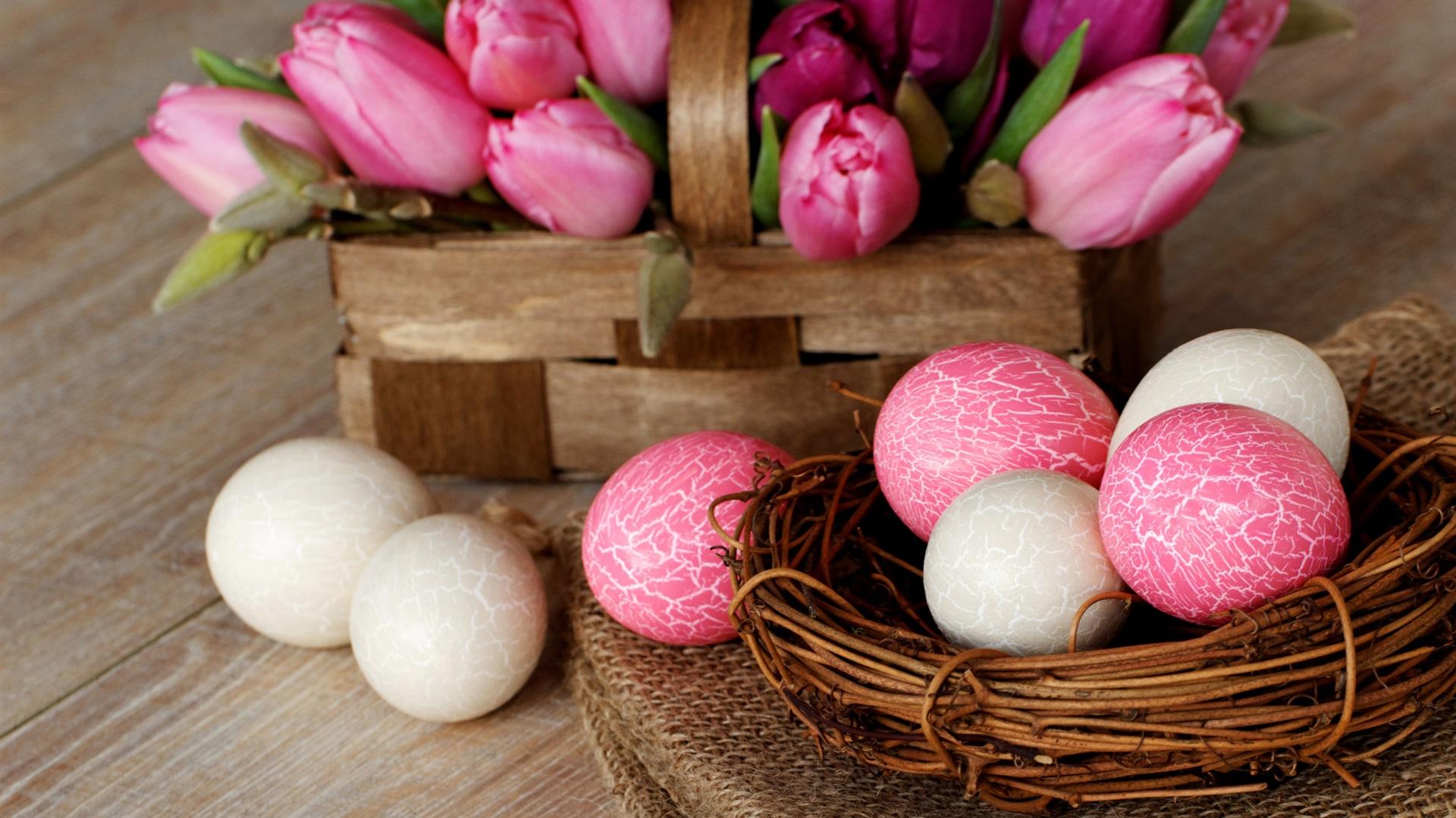 download hintergrundbilder 1920x1080 full hd ostern nest eier rosa wei tulpe blumen korb. Black Bedroom Furniture Sets. Home Design Ideas