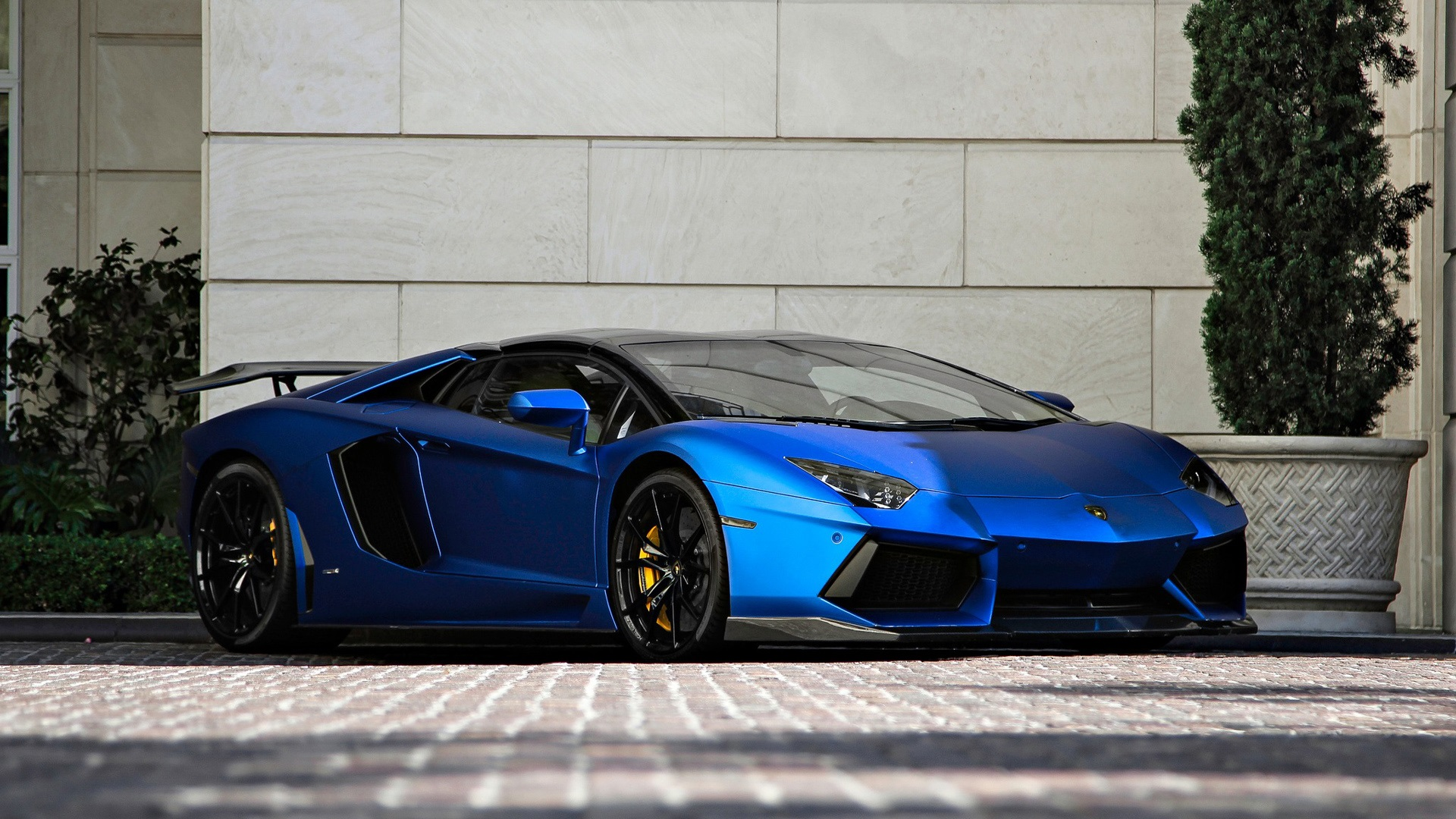 Wallpaper Lamborghini Aventador Lp700 4 Blue Supercar Front View