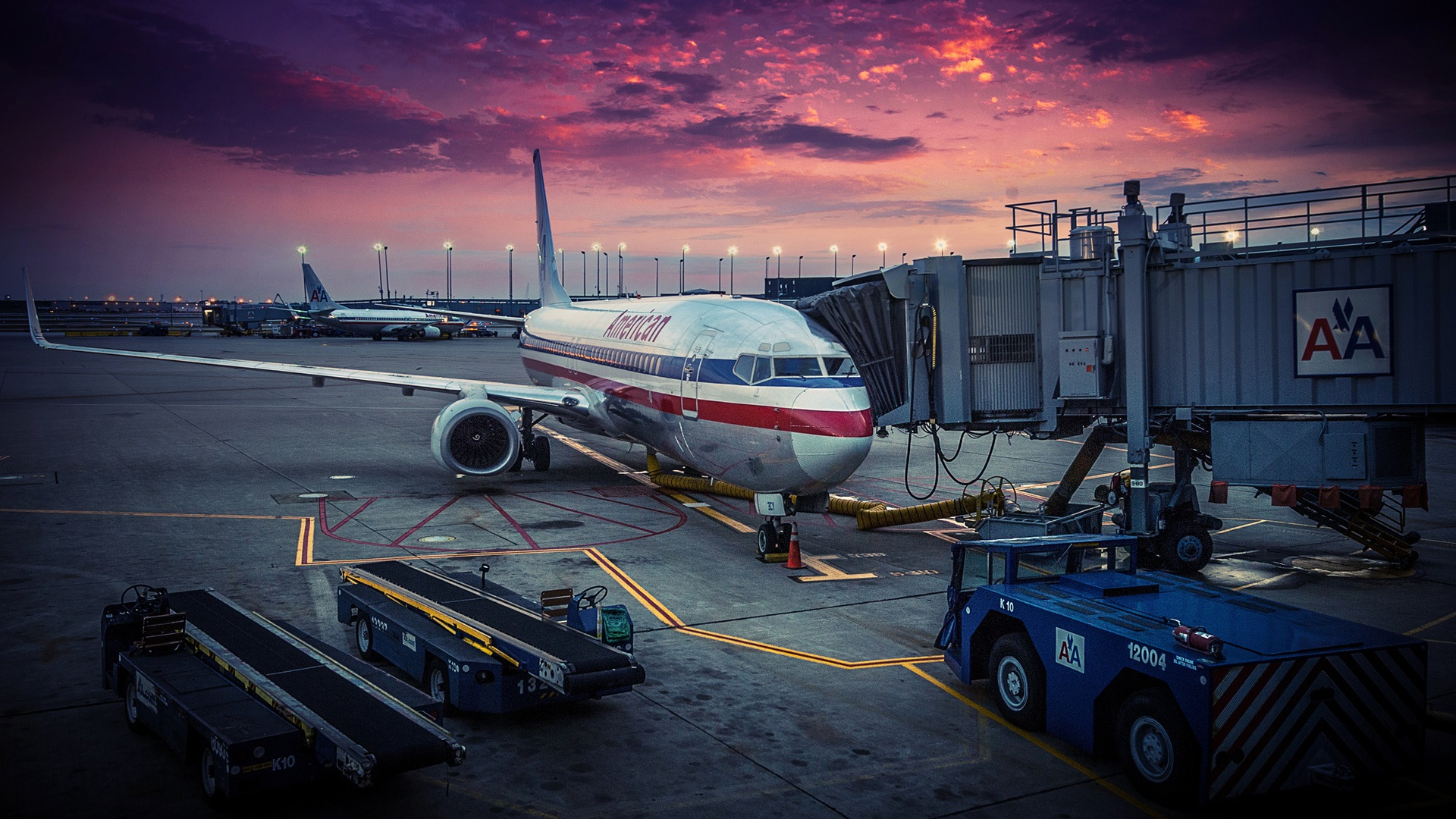 Wallpaper American Airlines, Chicago, airplane, airport