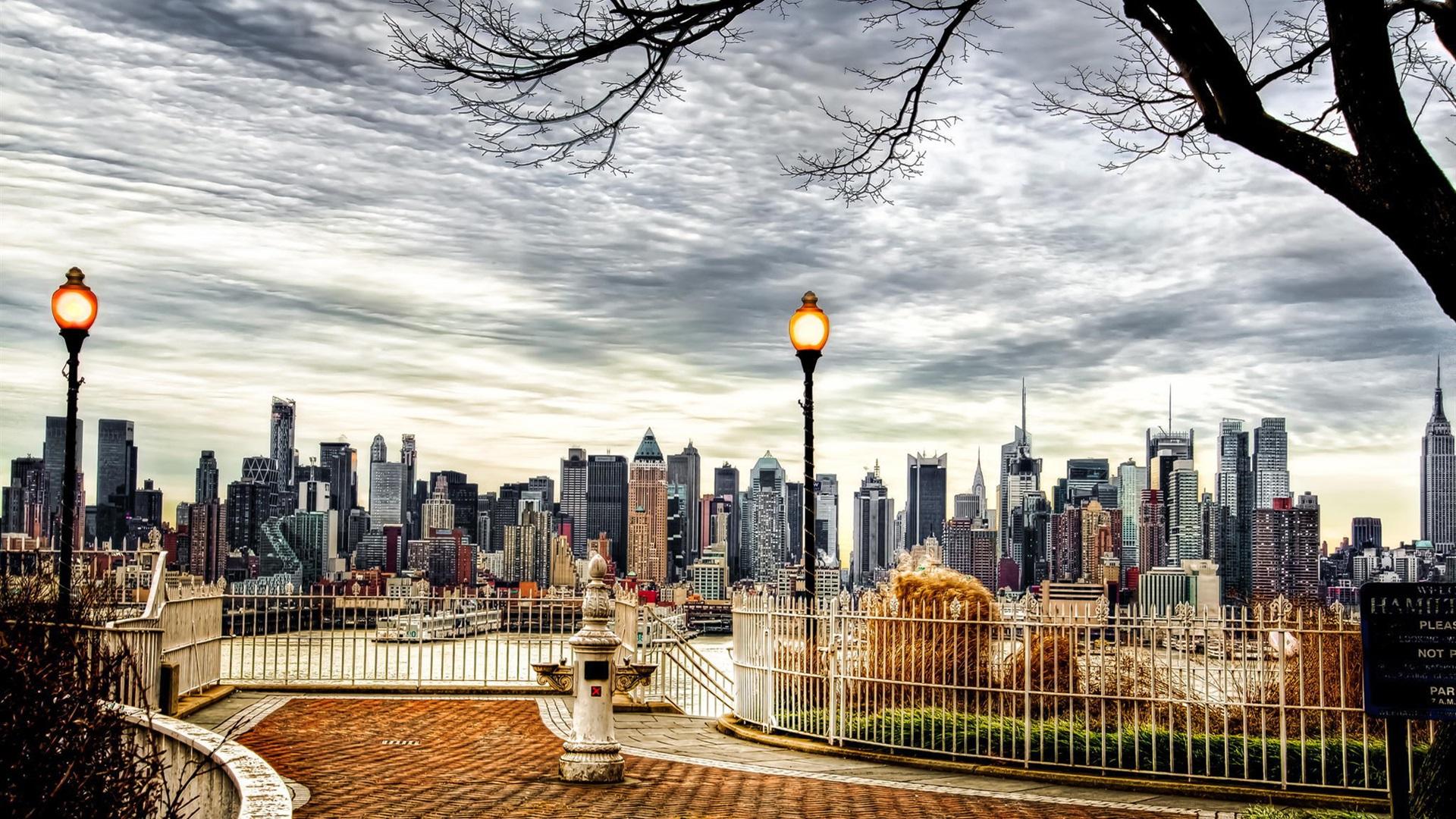 Schöne Stadt New York City Usa Wolkenkratzer Herbst