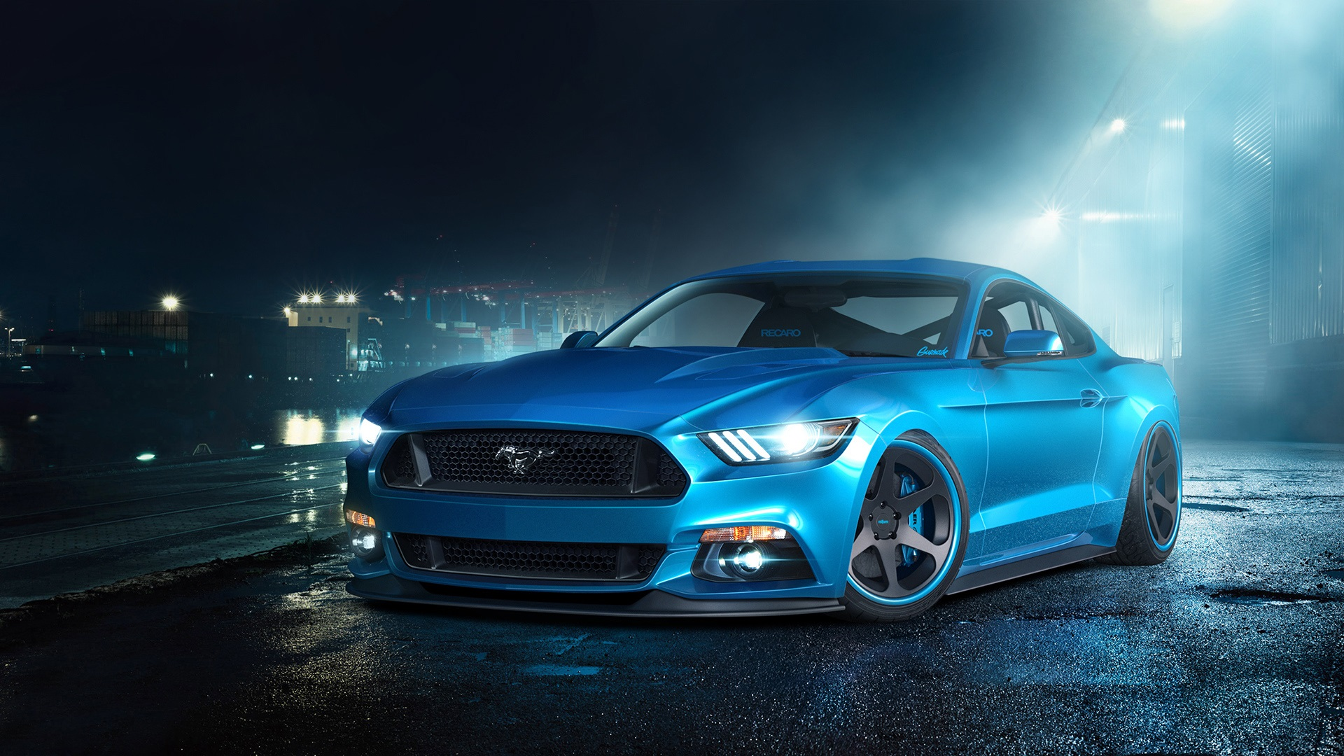 Wallpaper Ford Mustang Gt Blue Supercar 1920x1080 Full Hd 2k Picture