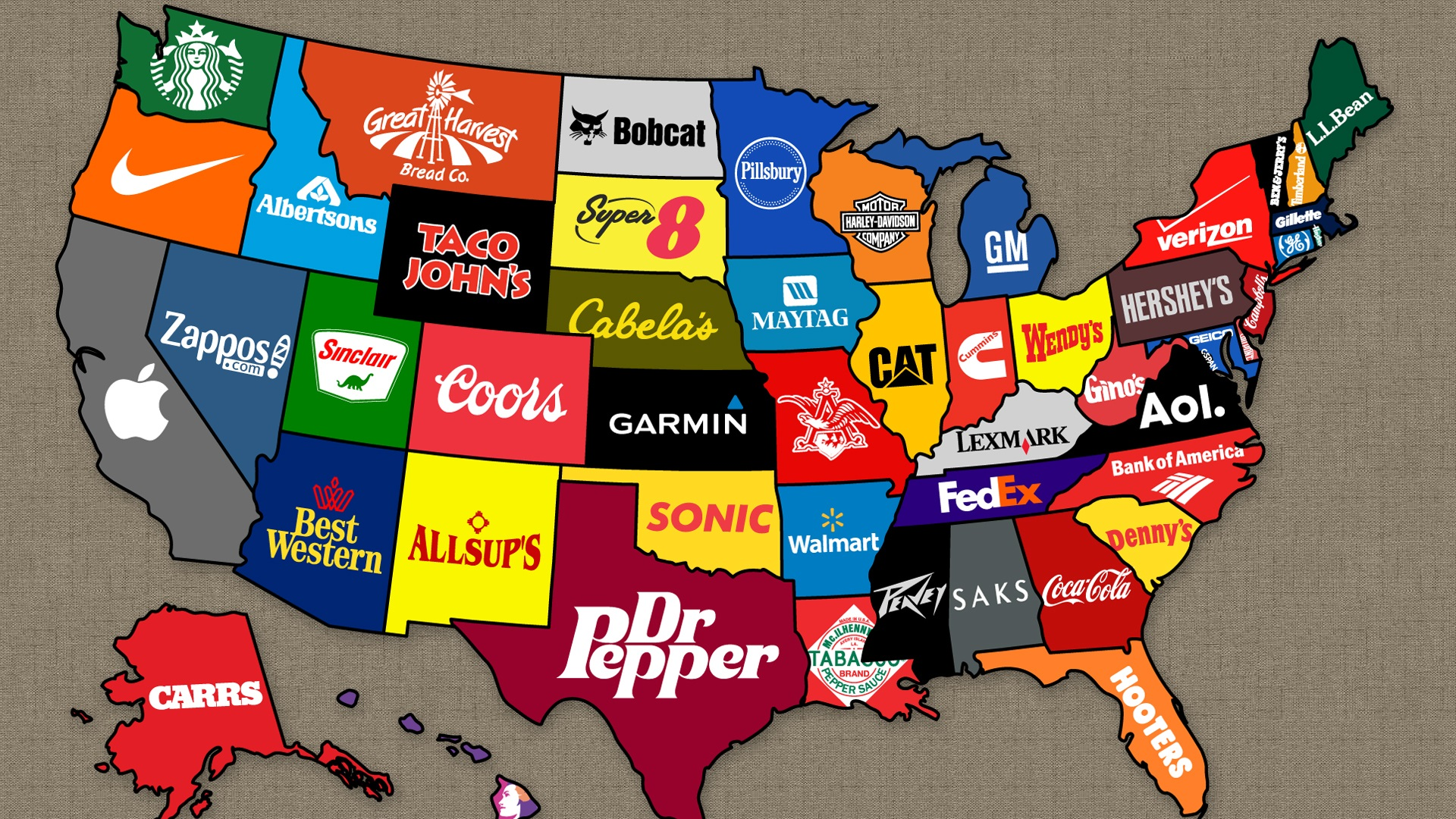 American brand on the map wallpaper 1920x1080 full hd for Top wallpaper brands