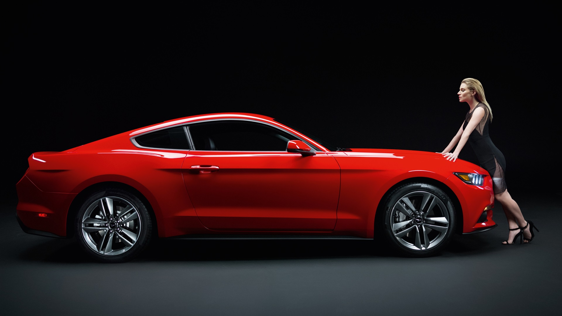 Wallpaper Ford Mustang Gt Red Muscle Car With Girl