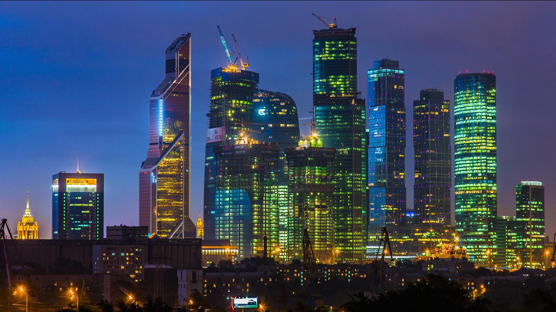 Wallpaper Beautiful City Night Moscow Skyscraper Lights