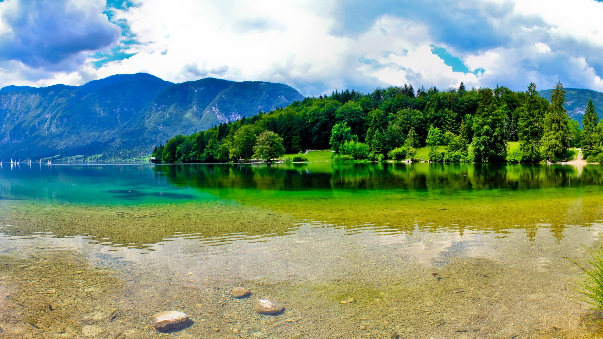 Beautiful 4k Wallpaper 4096 2160: Slowenien, Berge, Sommer, Fluss, Himmel, Wolken, Schöne