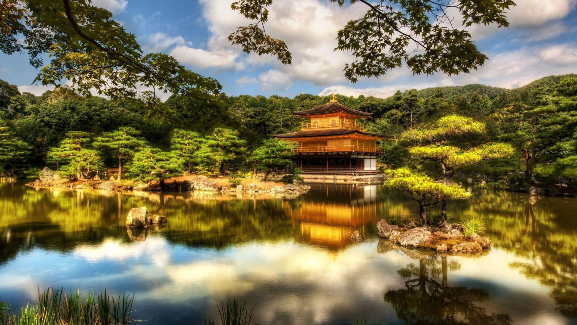 1920x1080 フルHD 壁紙 寺院、パビリオン、京都、日本、樹木、湖