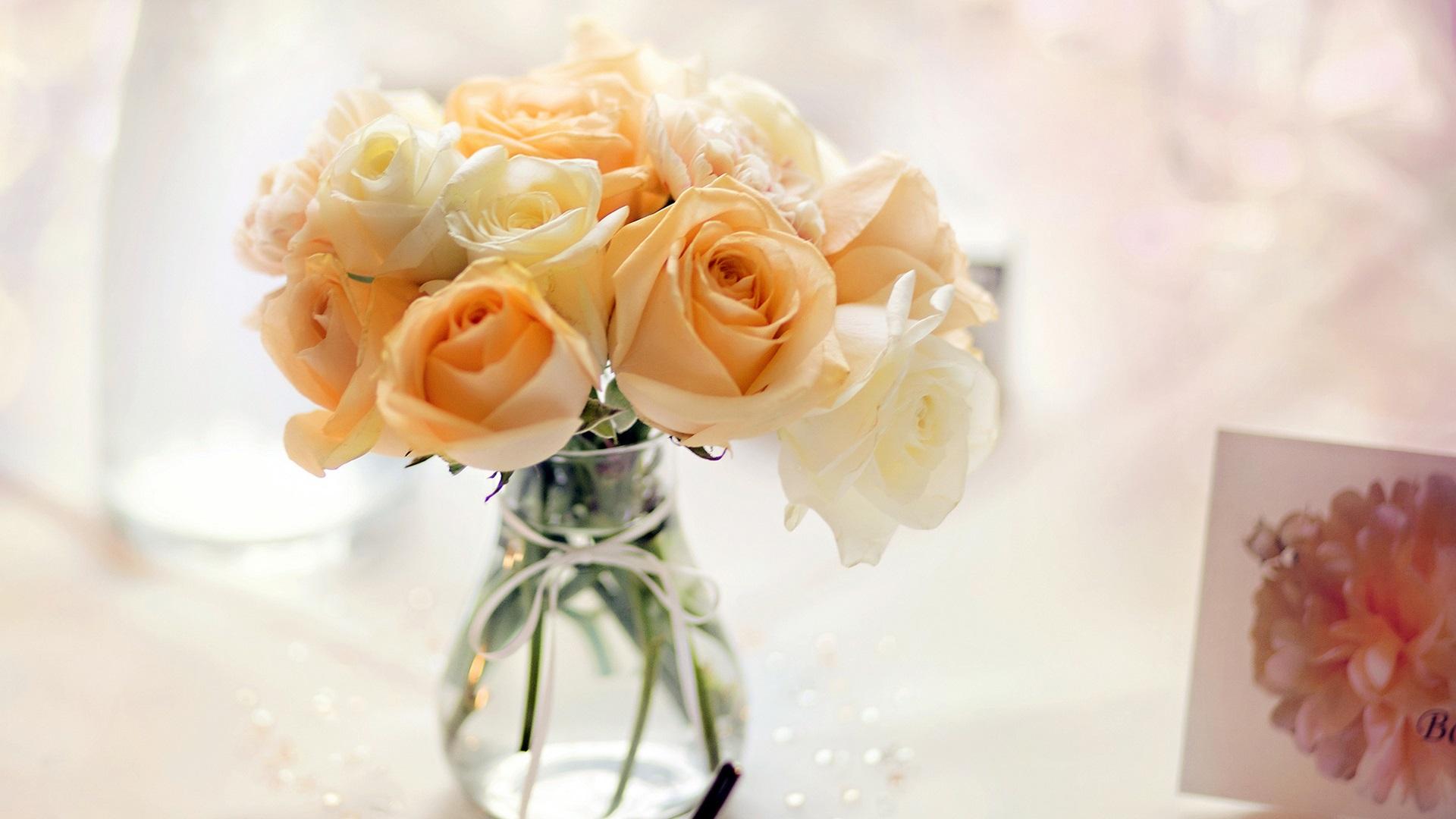 Yellow flowers, rose, vase, bouquet Wallpaper | 1920x1080 ...