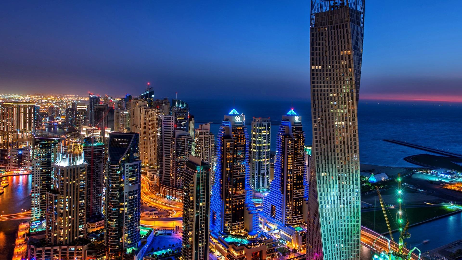迪拜,城市,夜晚,灯光,建筑,摩天大楼 壁纸 - 1920x1080图片
