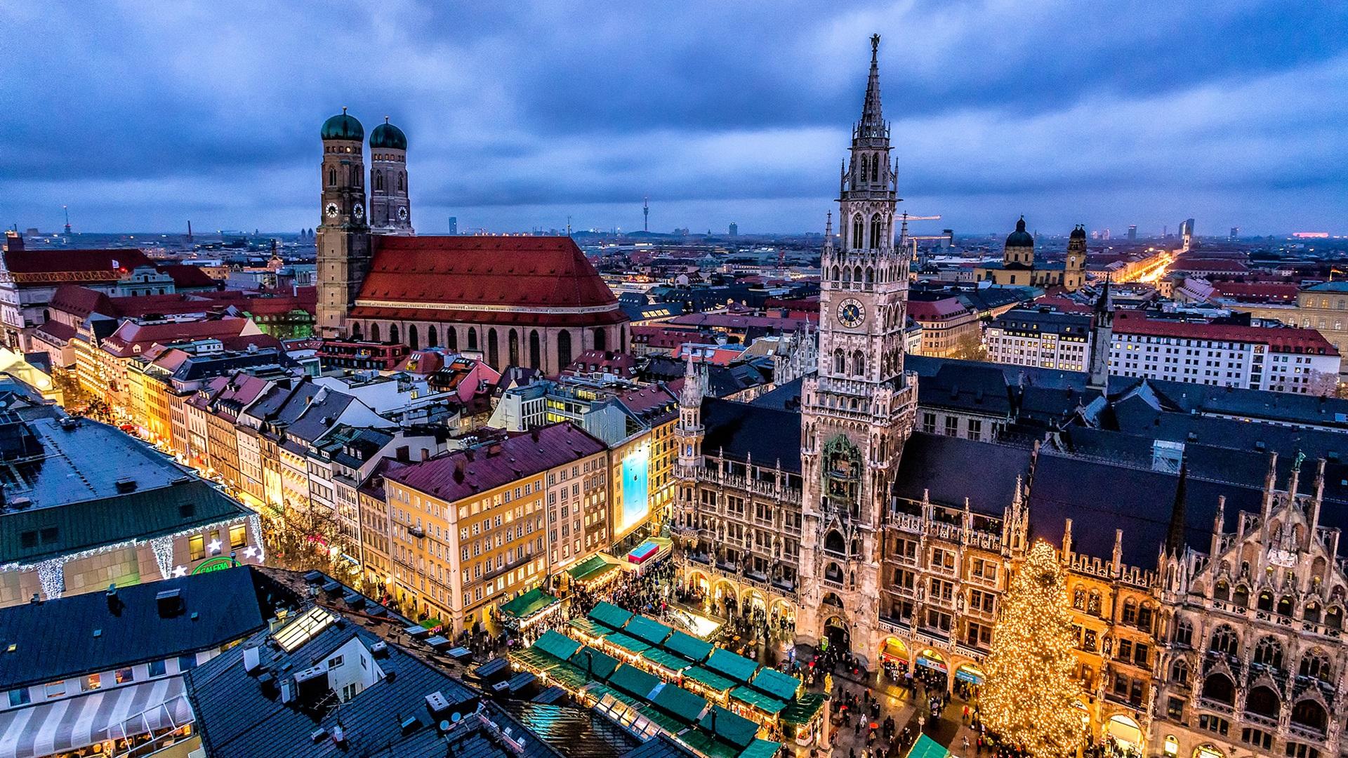 München, Deutschland, Stadt, Nacht, Gebäude, Lichter ...