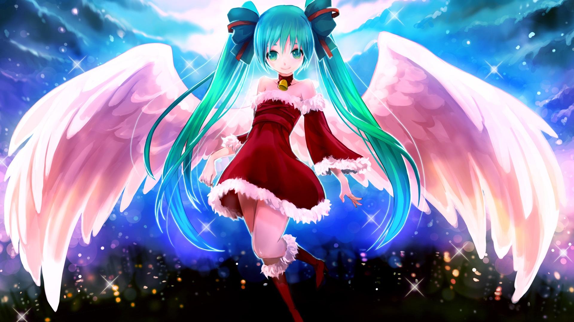 壁紙 アニメの女の子 青い髪 羽 19x10 Hd 無料のデスクトップの背景 画像