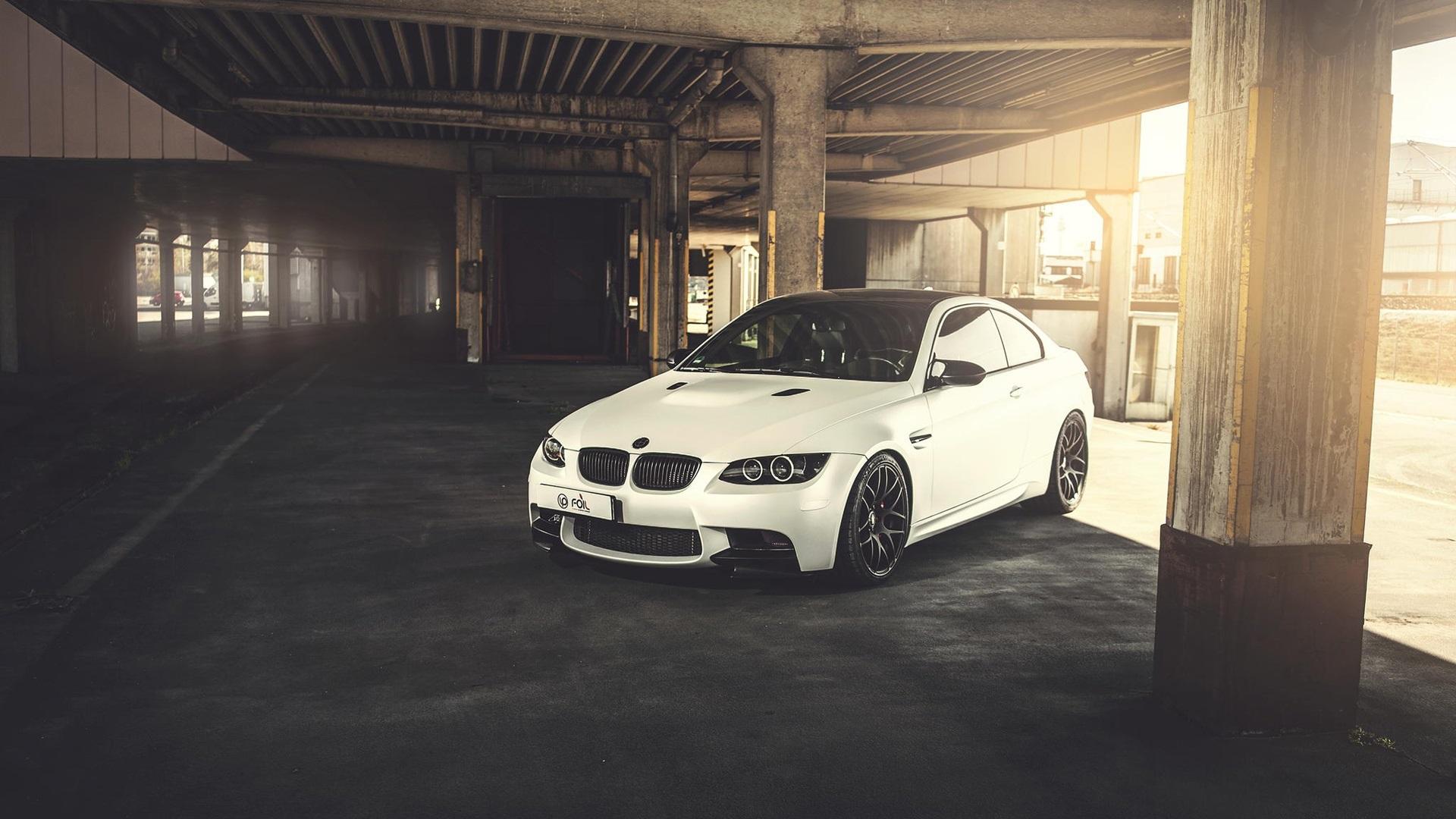 Wallpaper BMW M3 E92 White Car Sunlight 1920x1080 Full HD 2K