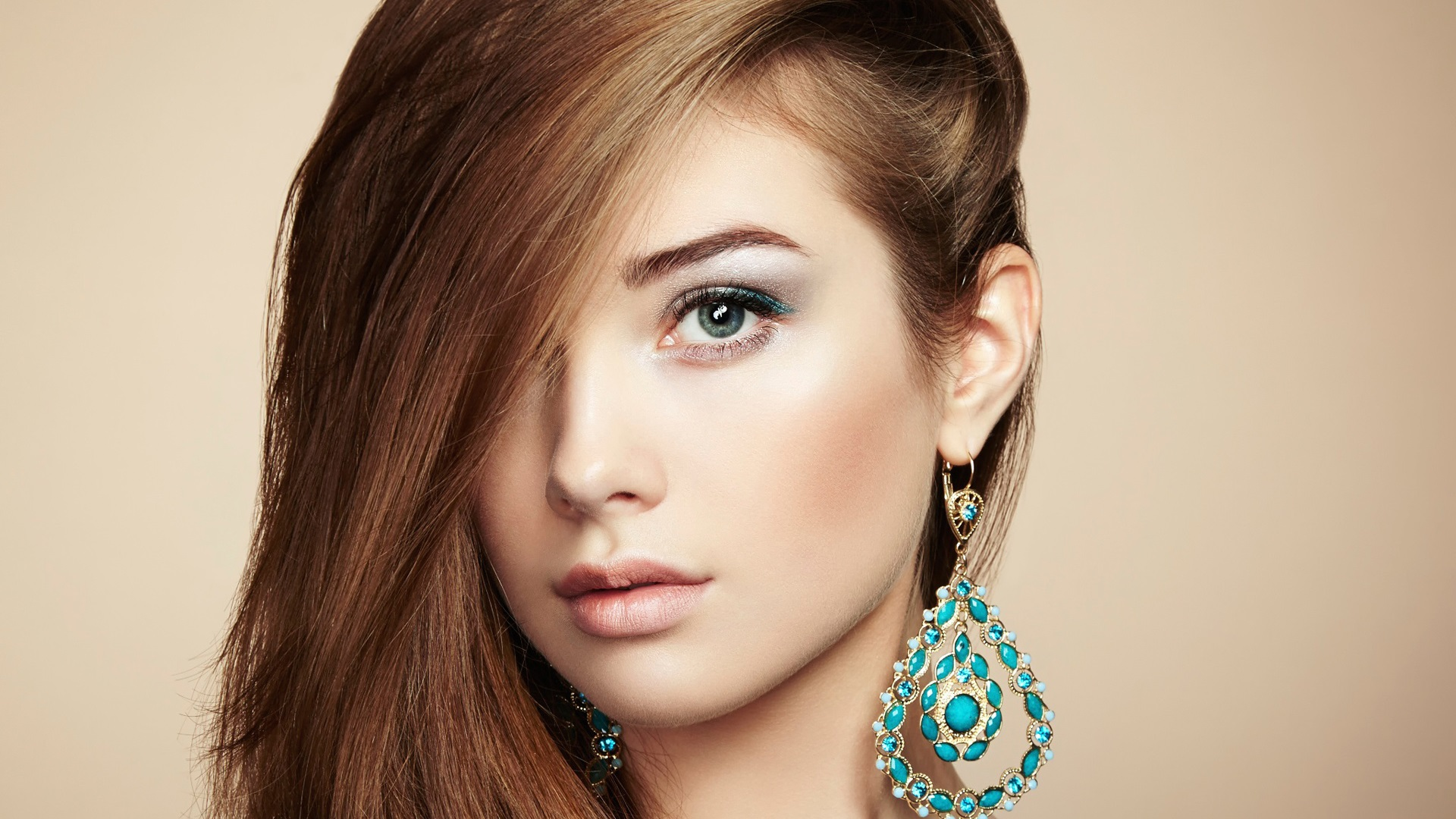 Beautiful young girl jewelry and accessories perfect makeup wallpaper 1920x1080 full hd - Garls perpact ...