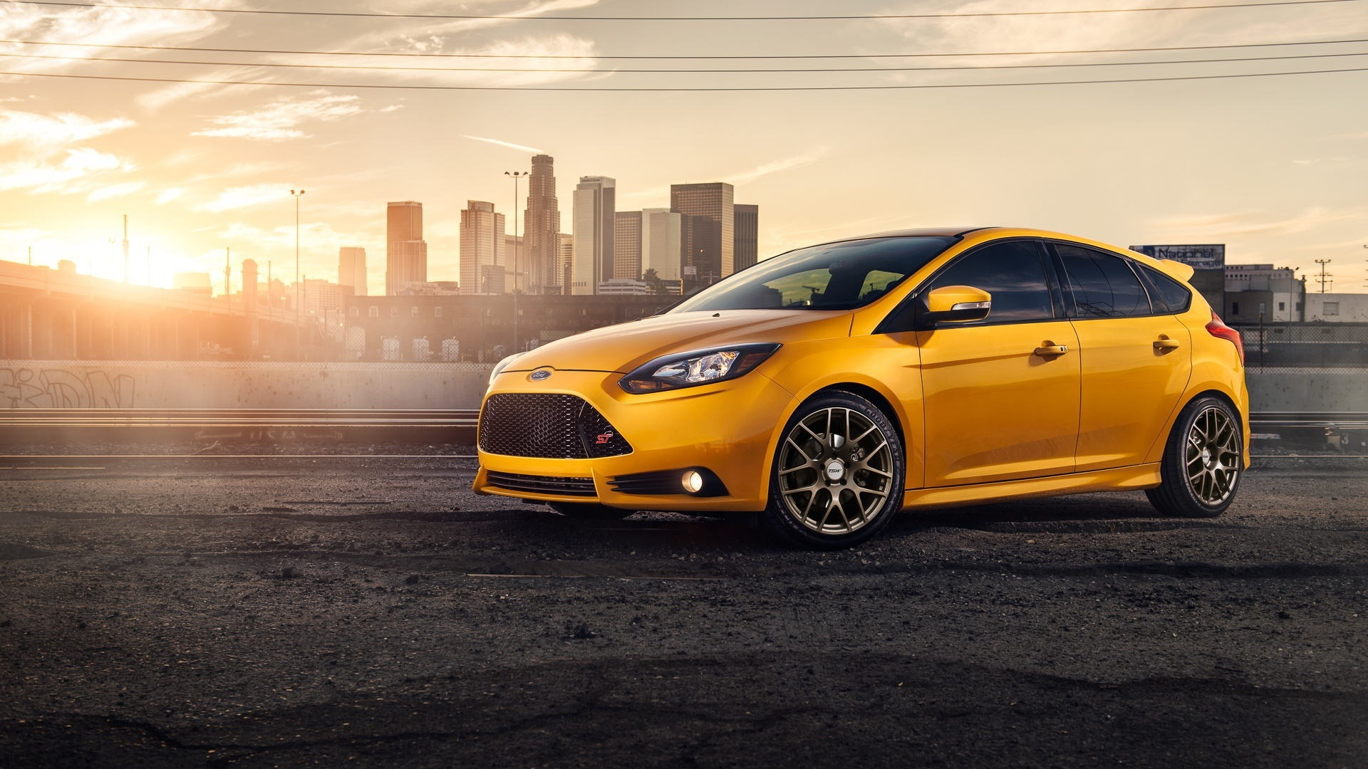 Wallpaper Yellow Ford Focus St Car Side View 1920x1080 Full