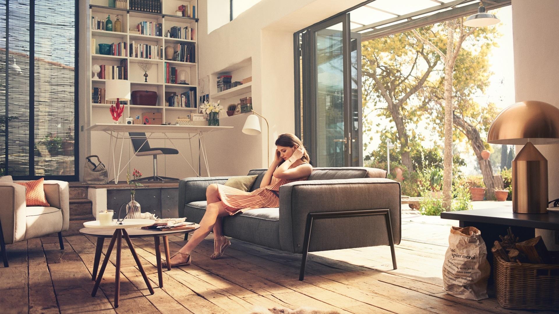 Interior design, girl, home, furniture wallpaper 1920x1080 f.