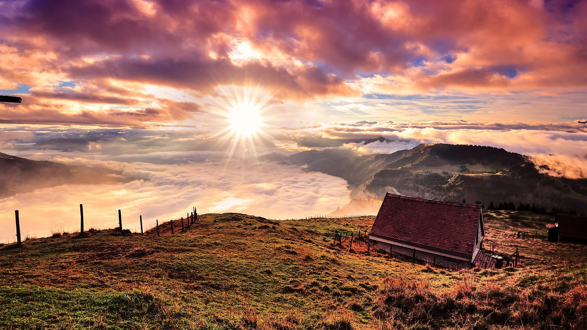 Switzerland mountains house clouds sunrise wallpaper for Full hd house image