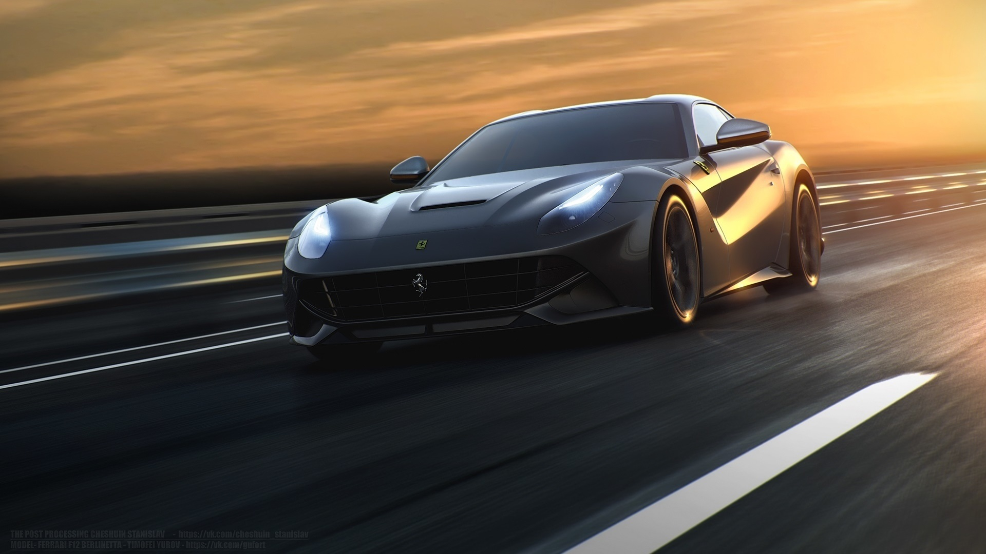 Wallpaper Ferrari F12 Black Supercar Speed Road Sunset 1920x1080